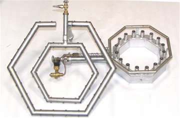 Formed bar burners with hole and nozzle flame orifices.