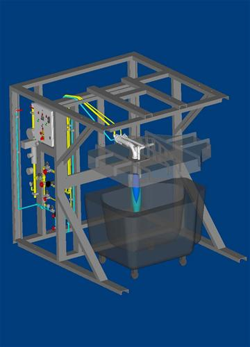 Laddle heating equipment 3D view.