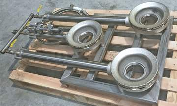 3 ring burner assembly at 120°, with flame failure valves.