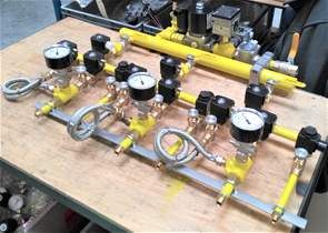 Main gas manifold for atmospheric burners, in stainless steel.